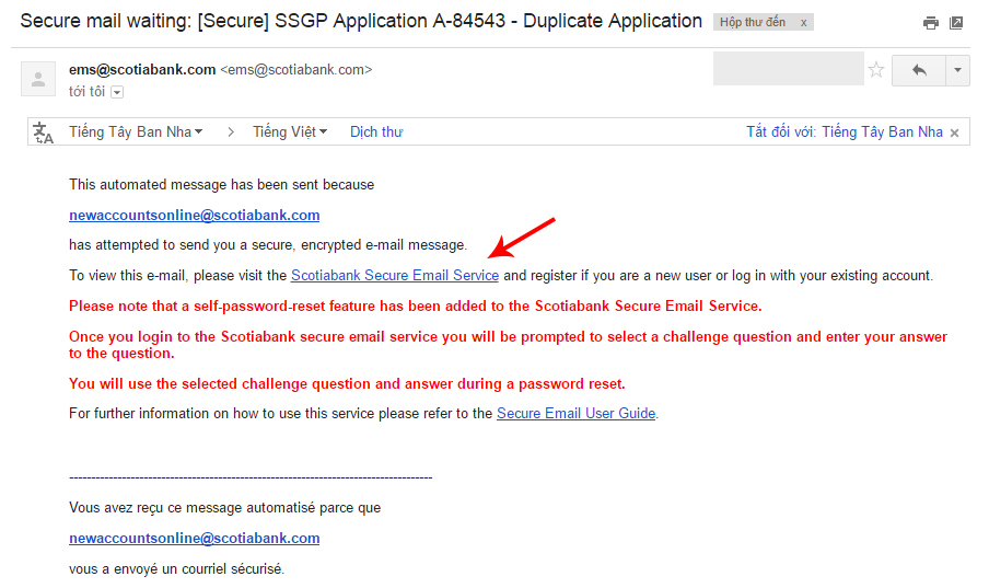 Kích hoạt email hệ thống scotiabank 1.1.1