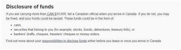 Quy định về việc mang ngoại tệ vào Canada được công bố trên trang CIC